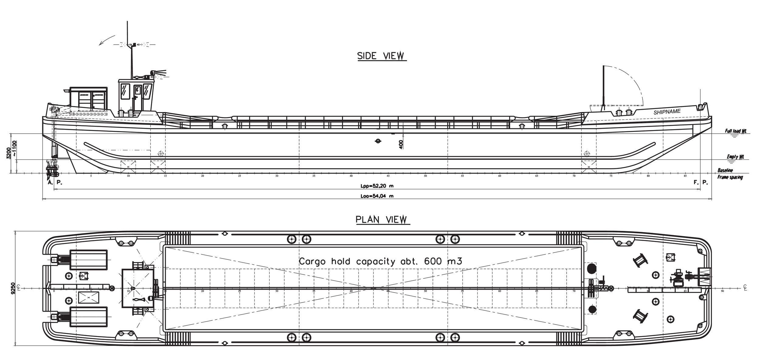 Split hopper barge 600m3önjáró_GDV-0884-03 Általános elr Elrendezés1 (1)_1
