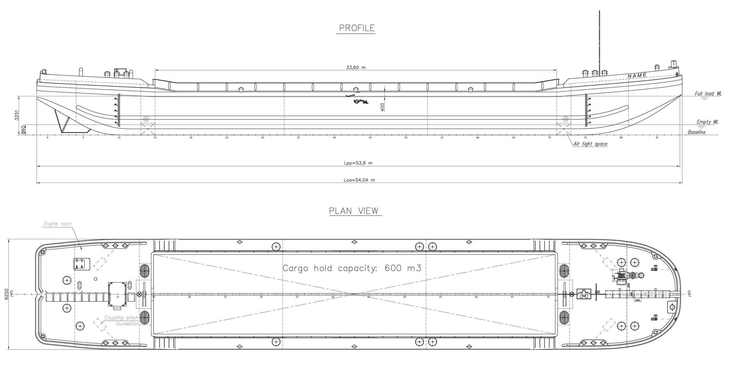 Splitbarge GDV-3500 Rev02 600m3 SB General arrangement