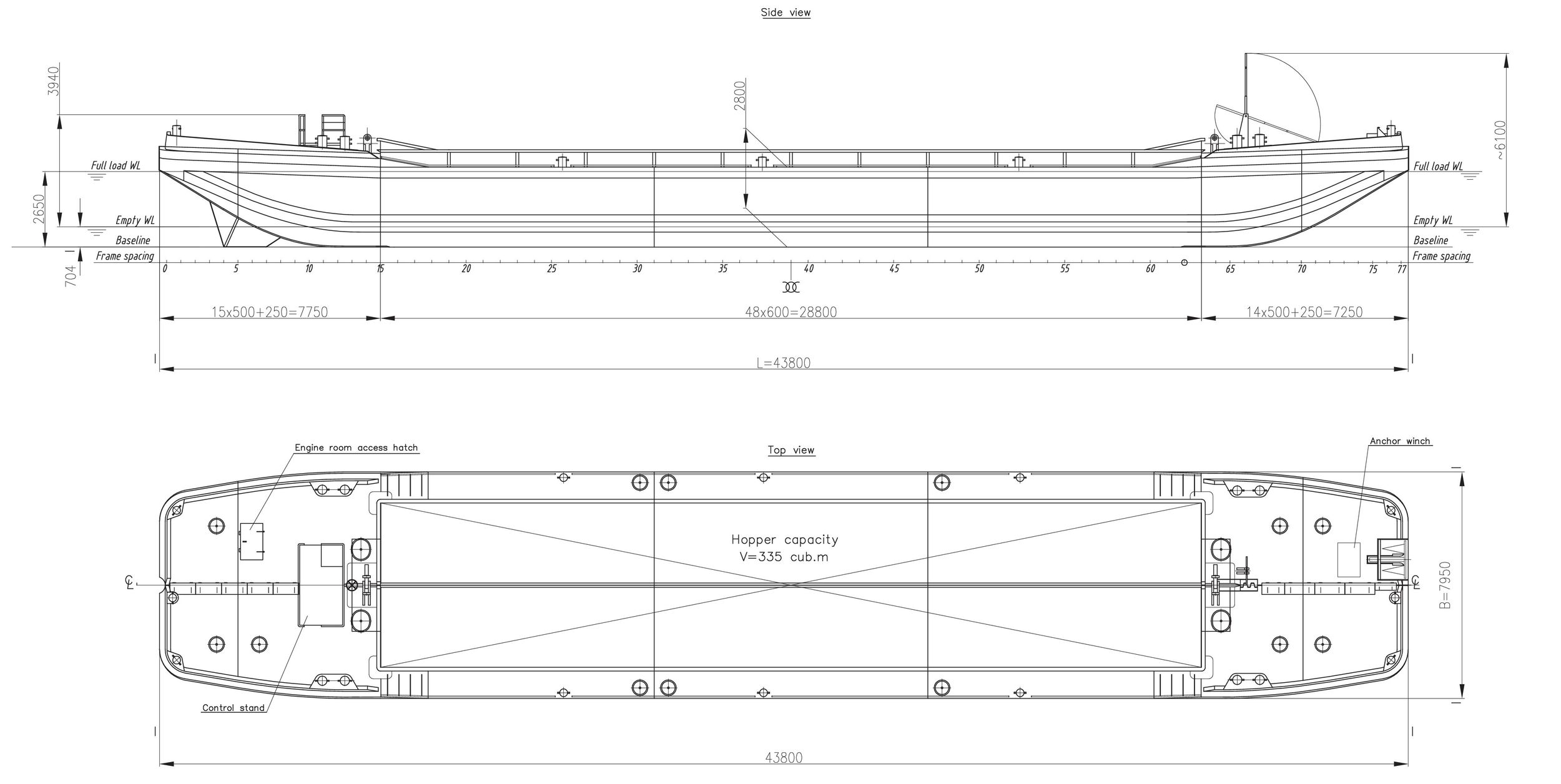 335 m3 Split Hopper Barge - Ganz Danubius