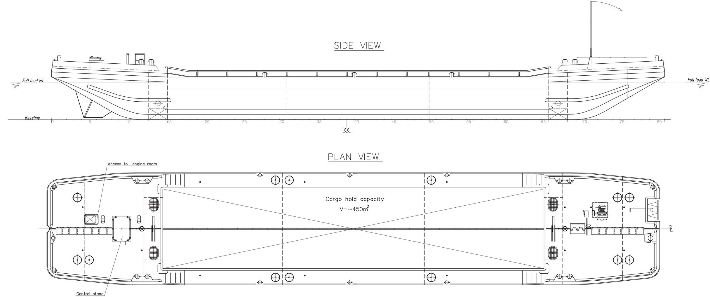 Splitbarge 450_GDV-1824-08 450m3 General arrangement